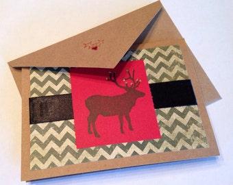 Stamped Elk - Christmas Green Chevron - Kraft Note Cards - Set of 4