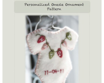 Personalized baby Christmas ornament - PATTERN ONLY - PDF Instant Download