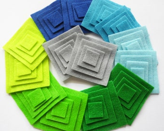 Felt Square, set of 56 pieces, felt supplies, felt die cut, felt applique, felt