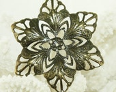Antique Bronze Filigree Iron Pendant 57mm (25 pcs) B32