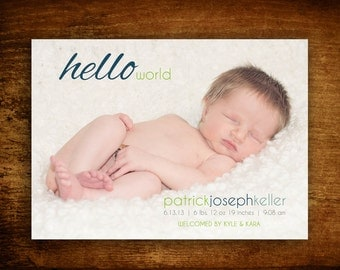 Printable Hello World Baby Boy Photo Birth Announcement(Digital Image)