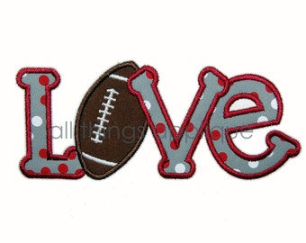 LOVE Football - Machine Embroidery Applique Design - Satin and Bean Stitch - INSTANT DOWNLOAD