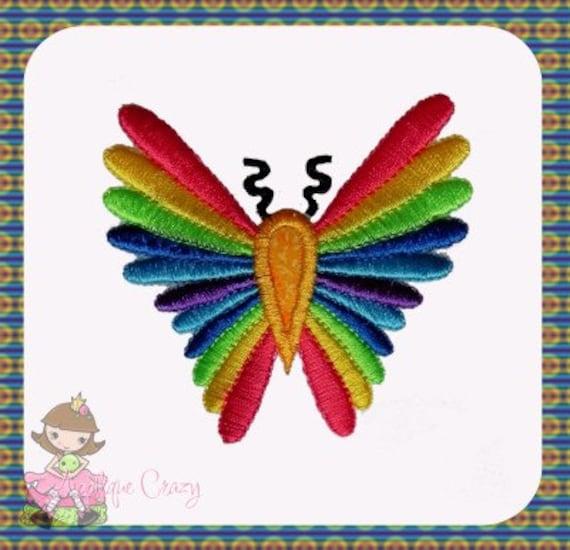 Rainbow Butterfly Applique design
