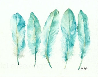 Feathers Watercolor Painting, Fine Art Giclee Print, Archival, goose feathers, blue, teal, feather print, feather art