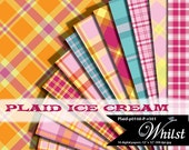 Plaid Digital Paper, Scrapbooking Paper plaid in pink orange blue gray : p0168 P v301