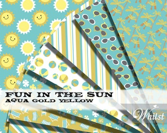 Pool Party digital paper, beach scrapbooking aqua gold digital paper yellow printable download background   : p0203 3s081022