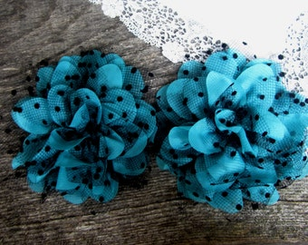 Teal Black Polka Dot Flower. QTY: 1 Flower