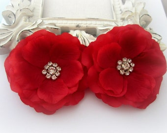 Red Silk Flowers with Rhinestone Center. 2 Piece. CELINE Collection
