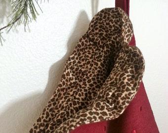 Burgundy Polkadot Linen Christmas Stocking