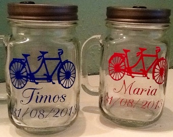Mason Jar Drinking Glass with Handle - Monogrammed Mason Jar - Handle Mason Jar - Glass Mason Jar - Wedding Favor - Teacher Gift - Mason Jar