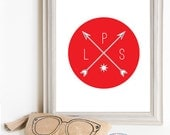 Though Very Humble : Custom Sail Away Home Arrow Compass Initials Monogram 8x10 Print