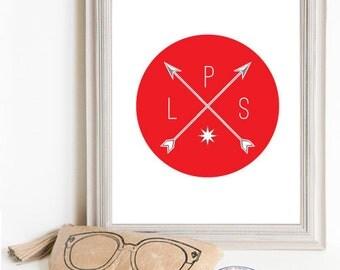 Though Very Humble : Custom Sail Away Home Arrow Compass Initials Monogram 8x10 Print