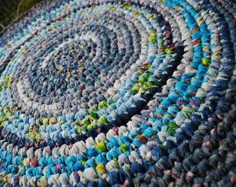 Blue multicolor handmade circle rug