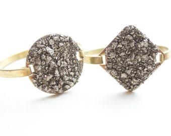 Sparkly Druzy Cuff Bracelet - Pyrite Swing Cuff Statement Bracelet