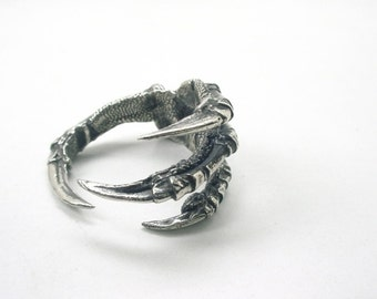 Raven Claw Ring, White Bronze, Carrion Crow