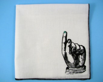 Hankie BOOGER FINGER shown on super soft white cotton hanky-or choose from any solid color or plaids shown in pics