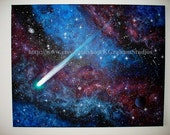 Stretched Canvas Print Gallery Wrapped 16x20 Spacescape COMET or Fine Art or Photographic Print Space Art Purple & Blue Nebula Stars Planets