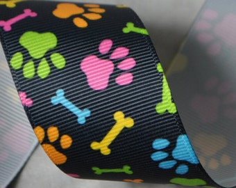 Neon Paw Prints and Bones 1.5 inches wide - 2 Yards