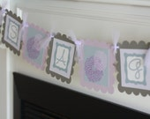 "Purple Lavender Grey Stripe Polka Dot - ""It's a Girl"" Dahlia Flower Baby Shower Banner - Ask About Party Pack Specials"