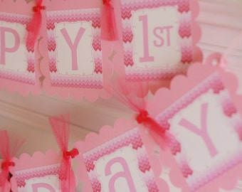 Happy Birthday Hot Pink Light Pink Ombre Chevron Theme 1st 21st 30th 40th Banner - Party Pack Specials - Free Ship Over 65.00
