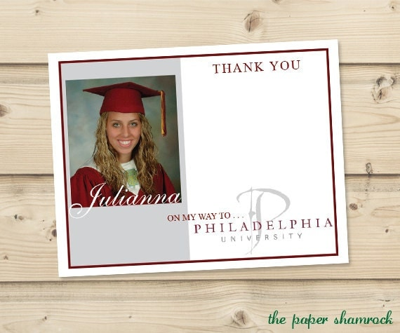 Graduation Thank You Cards: Photo Graduation Thank You Cards Thank You By ThePaperShamrock