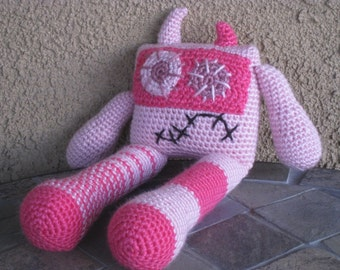Pink Crochet Monster, vegan robot zombie magenta mauve plush toy doll stuffed animal boys girls baby Christmas MADE TO ORDER