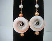 Shell Spiral with Orange and White Pearls Dangle Earrings