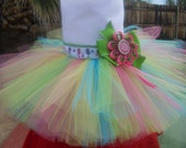 Tutu STRAWBERRY SHORTCAKE  skirt , with grosgrain ribbon. Ready to ship,