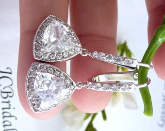 Original Design - Wedding Bridal Earrings - Unique AAA Halo Clear White Triollion Cut Triangle Cubic Zirconia with Leverback CZ Earings