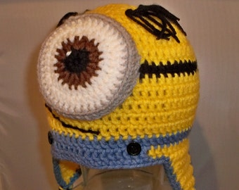 Yellow and Blue Crocheted One Eyed Minion Ear flaps and Tassels