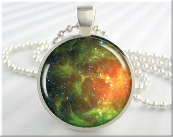 Hubble Nebula Pendant, Space Charm, Hubble Telescope Picture, Photo Jewelry, Nebula Necklace, Gift Under 20, Round Silver  (621RS)