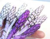 White Sample Size - Small Mini Organic Lavender Wand - Woven from Freshly Picked Flowers - Wedding Favorite - Flower Girl Basket
