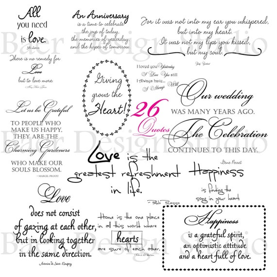 LOVE QUOTES digital word art for weddings, anniversaries, Valentines ...