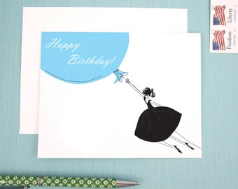 Birthday Card, Note Card, Birthday girl, fashion illustration blue balloon