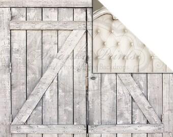 NEW ITEM / 7ft x 5ft REVERSIBLE Vinyl Backdrop / Double sided / White Headboard Light Barn Doors