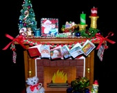 1 inch scale Xmas Fireplace for Dollhouse or as Ornament with Custom Photo Option