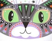 Cat greetings card Grey Tabby