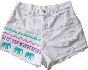 High Waisted Denim Shorts Vintage Ripped Distressed Tribal Aztec Elephant Waves Hand Painted Boho Coachella Hipster W30