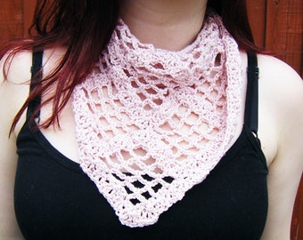 Crochet Scarf Triangular Pink Kerchief Summer Shawl