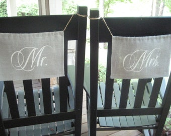 Wedding Chair Signs, Burlap Chair Signs, Mr and Mrs Signs, Bride and Groom, GRAY Burlap, Burlap Banner, Rustic Wedding, Burlap Wedding