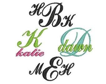 Script Machine Embroidery Font, Sweet Fancy Embroidery Font Monogram Alphabet Letters