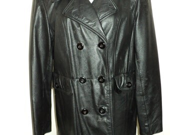 Vintage Double Breasted Black Leather  Trench Peacoat, Size Large Female, made by The Wilson Leather Company, In Very Good Condition