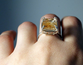 SALE<<<Statement Solitaire Ring No.8 - Sterling Silver and Emerald Cut Golden Rutilated Topaz