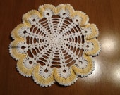 Vintage yellow and white crocheted doily ruffled edge