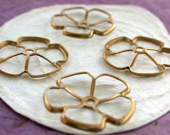 Brass Flowers, Brass Stampings, Brass Flower Stampings, Metal Stamped Flowers, Vintage Metal Flowers, Vintage Style Metal Flowers STA-125