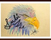 painting, original, water color, eagle, bird, animal, nature, colorful, gift