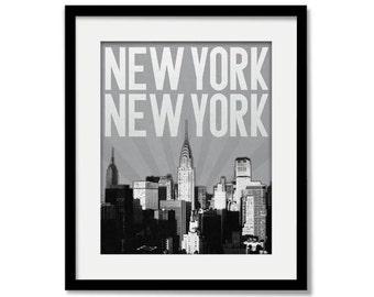 New York City Skyline - Choose your color - Wall Art - Souvenir - Wedding Gift - Print - Manhattan, Brooklyn