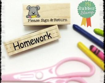 Please Sign & Return Stamp • Homework Stamp (Teacher Rubber Stamp Set) 2 Woodblock Craft Stamps (D453 / C4676)