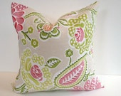 Designer Pillow Cover, Decorative, Throw. 16x16 inch- Modern Pink & Green  Floral