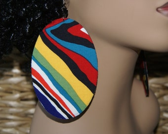 Large Fabric Covered Earrings- Wild Wonder